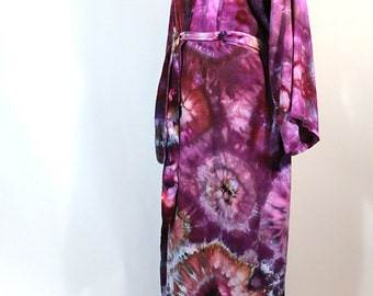 Lady's Rayon Robe, Ice Dyed Tie Dyed in Shades Of Purple And Lavender,  One Size,  Made To Order