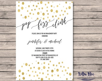 Pop Fizz Clink Engagement Party Invitation #601, 5x7 , Printable Invitation, Engagement Party Invitation
