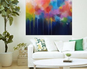 """Large original abstract painting 1.25x1.25M, large abstract painting, abstract canvas, extra large wall art """"Spectrum II"""""""