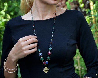 Single initial monogram necklace.Ruby necklace.Multi color gem monogram pendant.Single monogram with a pearl,