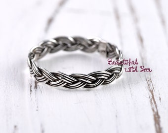 3mm Braided Ring, Braided Ring Womens, Braided Rope Ring, Oxidized Sterling Silver Stacking Stackable Rings, Twist Braided Ring