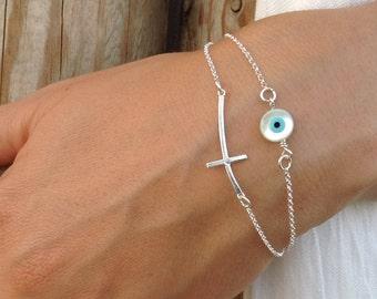Evil eye bracelet, 925 sterling silver, sideways cross & evil eye, layered bracelet, dainty evil eye, protection bracelet, gifts for her