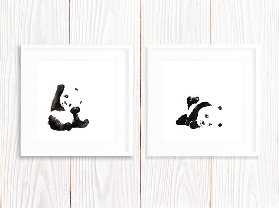 Panda art print nursery panda wall art cute by for Panda bear decor