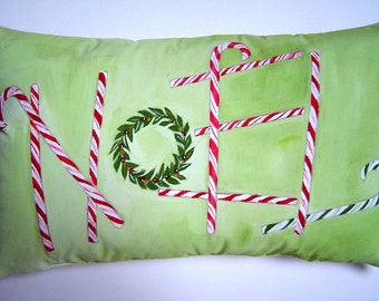 NOEL Pillow 10x16 Hand Painted Candy Cane Letters Christmas Pillow Holiday Home Festive Red White Green Original Design Unique ART