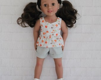 Grey Floral Peplum Top Gray Shorts Dolls Clothes to fit 18 inch dolls to 20 inch dolls such as American Girl & Australian Girl dolls