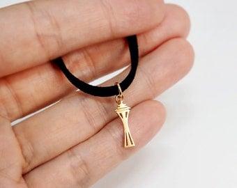 Black Choker,Space Needle necklace, Space Needle charm, Seattle,Simple Choker,choker necklace, landmark jewelry, tiny necklace
