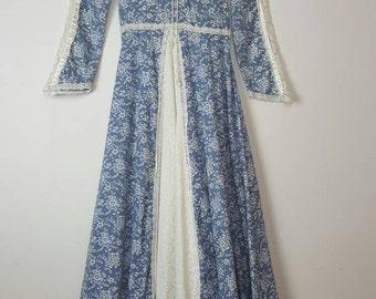 1970's Blue and White Floral Print Gunne Sax Maxi Dress