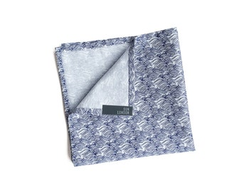 Umi Blue Wave Pocket Square, Men's Hand-Rolled Handkerchief