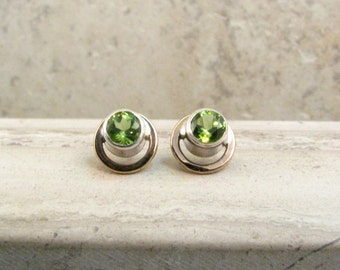 August Birthstone Gift for Her - Peridot Stud Earrings - Silver and Bronze Mixed Metals Stud Earrings -  Green Stud Earrings