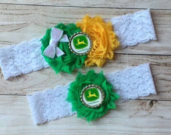 John Deere inspired wedding garter set