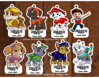 Paw patrol Favor Tags.