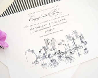 Boston Skyline Engagement Party Invitations, Boston Engagement Announcements You Design it! (set of 25 cards)