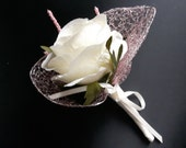 Beautiful Mother of the Bride Corsage / Wedding Guest Buttonhole / Boutonniere, Ivory Satin Rose with Pretty Pink & Silver Leaves and Ribbon