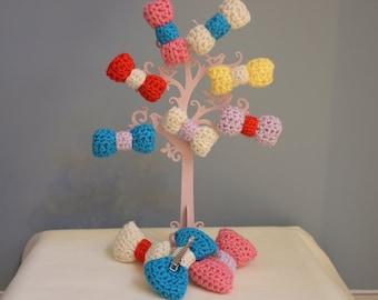 Handmade crochet hair clip bow - various colours