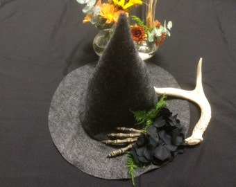Unique Felt Witch Hat Halloween Costume with Flowers and Skeleton Hand, Witch Costume Hat, Skeleton Witch Hat, Flower Witch Hat