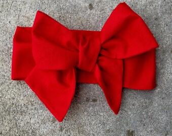 Red Headwrap, Tied Christmas Pinup Headwrap Valentine Headwrap, Baby Headband, Big Bow Headwrap, Infant Headwrap,Baby Girl, Toddler Headwrap