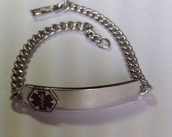 Vintage Sterling Silver Enameled Medical Alert Bracelet NOS