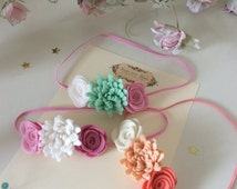 Three flower felt headband in sizes newborn-adult. Choice of colours