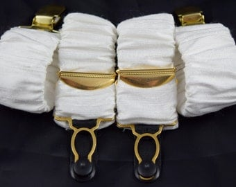 Pair of Detatchable Silk Covered Suspenders - Ivory and Gold