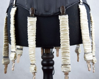 Detachable Silk Covered Suspenders - Cream and Silver (Set of 10)