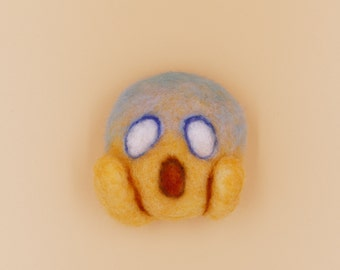 The Scream Emoji :  needle felted magnet