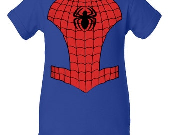 Spiderman Inspired Character Onesie Infant Baby Newborn Onesie Creeper Crawler One Piece Bodysuit 100% combed ringspun cotton