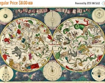 ON SALE Celestial map by de wit 1670 - 496 x 339 stitches - Cross Stitch Pattern Pdf - Instant Download - B667