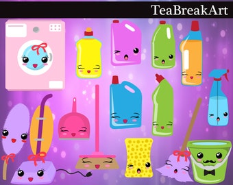 Kawaii Cleaning -Digital Clip Art Graphics Personal/ Commercial Use(160)
