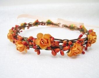 Wedding Floral Crown, Orange Flower Headband, Floral Head Wreath, Wedding Headband, Bridesmaid Flower Crown, Flower Girls Flower Crown