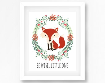 Woodland Nursery Wall Art, Baby Shower Gift, Personalised New Baby Gift, Fox Nursery Print, Woodland Themed Nursery Decor, Woodland Animals