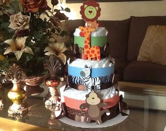 Safari diaper cake/ baby boy diaper cake / Safari baby shower centerpiece / Gift