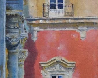 Original Small Oil Painting, Sicilian Palazzo
