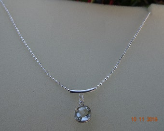 925 Silver chain with green amethyst in modern design!