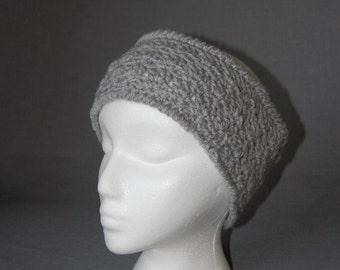 Gray Crochet Earwarmer Headband ~ Teen/Adult