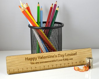 Personalised Wooden Valentines Ruler