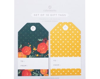 Painted Yellow & Green Floral Polka Dotted Gift Tags