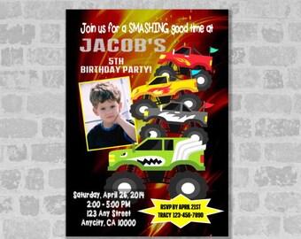 Monster Trucks Invitation, Printable Monster Trucks Birthday Party Invitation - Digital Files, U Print