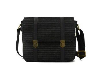 Handbag with shoulder strap black; eco-friendly, cruely free - DISCOUNT 15%