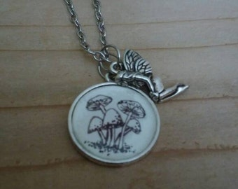 "Dainty Wearable Unique Art Hand Drawn Mushroom Fairy Nature Pendant Necklace Black And White Gift Handmade 18"" Chain"