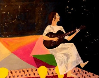 Original artwork hand made acrylic painting on canvas 60x70 woman guitar boho style gipsy colorfu l cool graphic Free shipping
