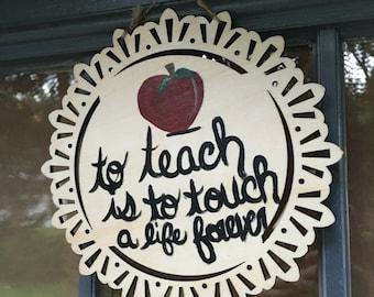 Hand painted teacher wooden sign