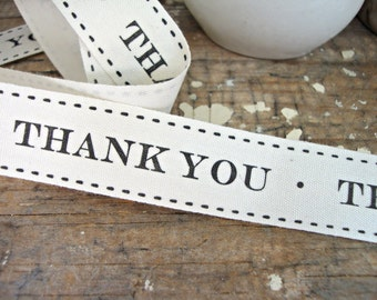 "Natural Cotton ""Thank You"" Ribbon"