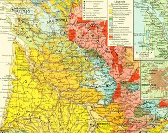 1950 Geological map of Aquitaine - Bordeaux Map - French map - Geology Vineyards of Bordeaux - Large Size