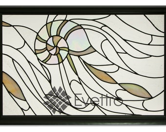 "Nautical Stained Glass Panel, ""Nautilus"""