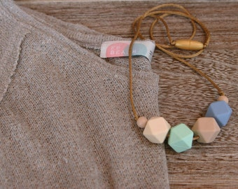 Silicone Teething Necklace Silicone Nursing Necklace - Serenity Blue, Gold Cord, Compliant, BPA Free, Non Toxic