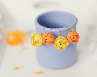yellow flower earrings  orange floral earrings Bright accessories