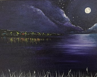Moonlit Water 1. Original acrylic landscape painting. Free UK delivery.