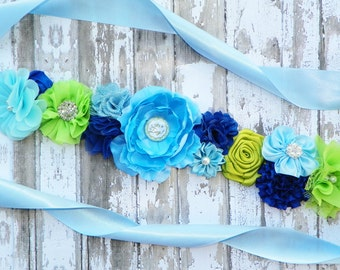 Blue Green Maternity Sash, Lime Green Sash, Its a Boy, Blue Belly Band, Gender Reveal Party, Mom to Be, Maternity Photos, Baby Shower Sash