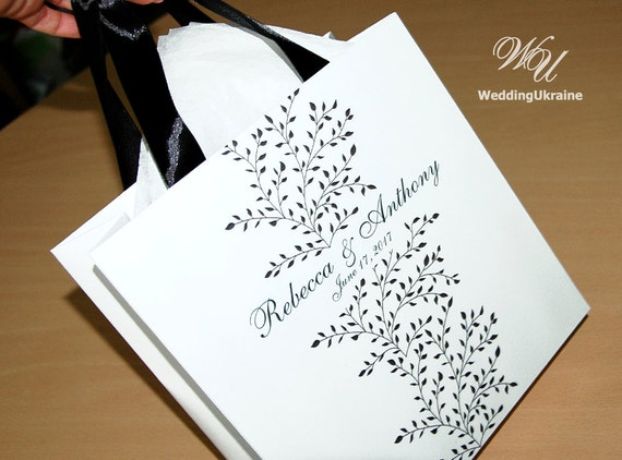 Wedding Gift Bags Printed : ... Black & White Wedding gift Bags - Custom Personalized Wedding Gift bag