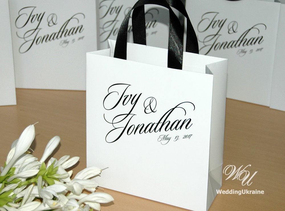 Gift For Guests At Wedding: 50 Gift Paper Bags For Wedding Guests With Black Satin Ribbon